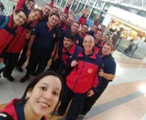 Bombera argentina se capacita en Cali, Colombia